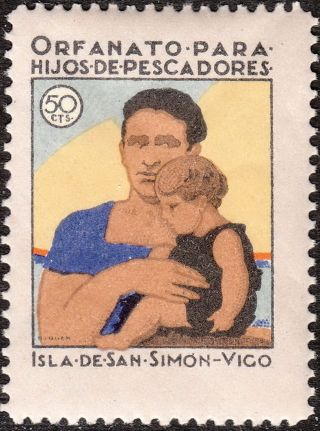 Stamp Label Spain Exposition Cinderella Isle San Simon Vigo Galicia Orphan photo