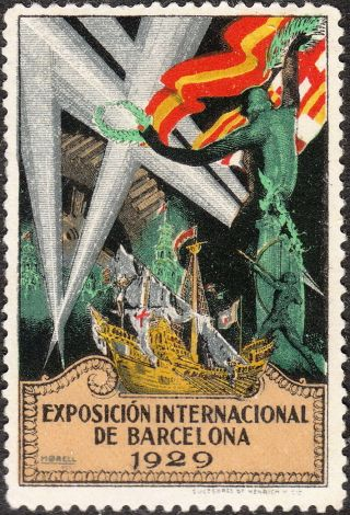 Stamp Label Spain Exposition 1929 Poster Cinderella Barcelona International photo