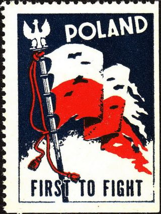 Stamp Label Poland Wwii Poster Cinderella Red Cross Czerwony Victory Flag photo