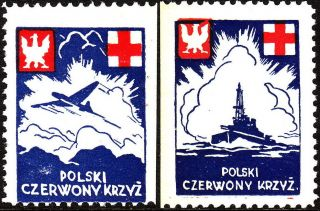 Stamp Label Poland Wwii Poster Cinderella Red Cross Czerwony Ship Airplane photo