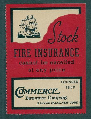 Us Cinderella Commerce Insurance Co.  ;glens Falls,  Ny;stock Fire Insurance photo