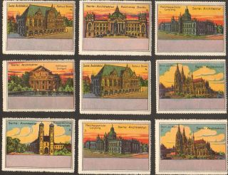 9 Poster Cinderella Stamp Reklamemarke 1900s Germany Architektur Ps 17 photo