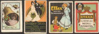 4 Art Nouveau Poster Cinderella Stamp Reklamemarke 1900 - 1920 Deutschland Ps 10 photo