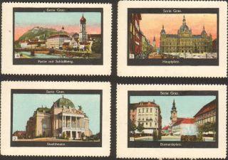 4 Poster Cinderella Stamp Reklamemarke 1910s Austria Graz Ps 1 photo