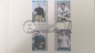 Early Football Heroes 2003 Stamp Program Booklet. .  Nevers,  Camp,  Nagurski,  Grange photo