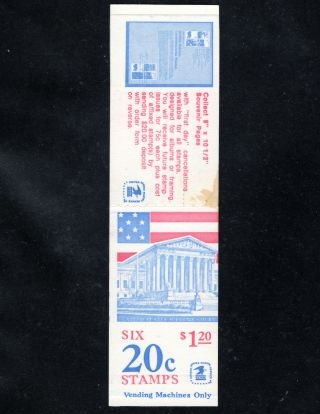 Oddlots: Us Booklet Bk139,  M,  20¢ Flag Over Supreme Court,  Vending Bklt Of 6 photo