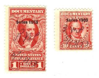 1940 U.  S Revenue Documentary Stamp 10c & $1.  00 Sc R300 & R624 photo