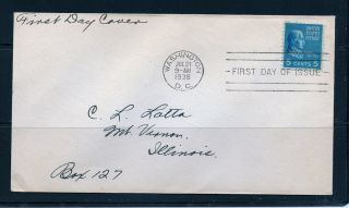 First Day Cover James Monroe 5c 810 Presidents Uncacheted Fdc 1938 photo