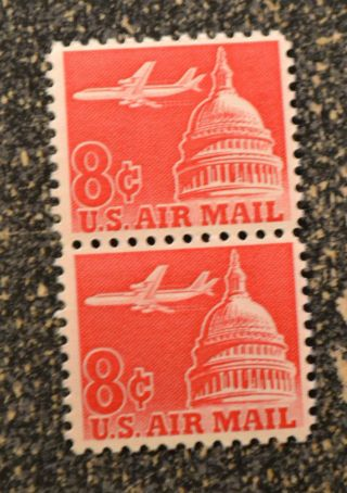 1961us C64 8c Air Mail - Airliner Capitol Dome Vertical Pair Nh photo