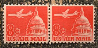 1961us C64 8c Air Mail - Airliner Capitol Dome Horizontal Pair Nh photo