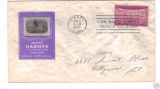 South Dakota Statehood Ioor Cachet - Scott 858 1939 photo