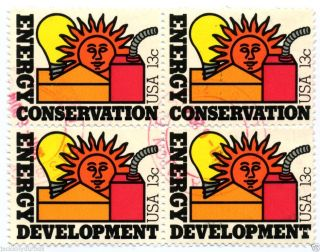 1723 - 4 Block Of 4 Energy Conservation & Development Yr 1977,  13 Ct Postmark photo