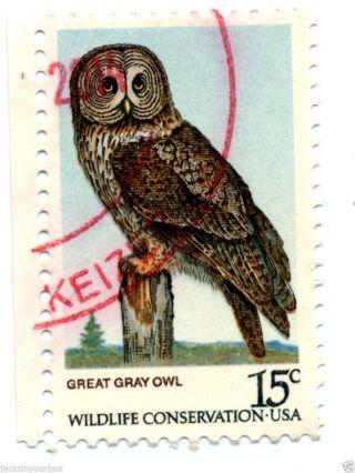 1760 - 3 Single,  American Owls Yr 1978,  15 Ct Postmark, photo