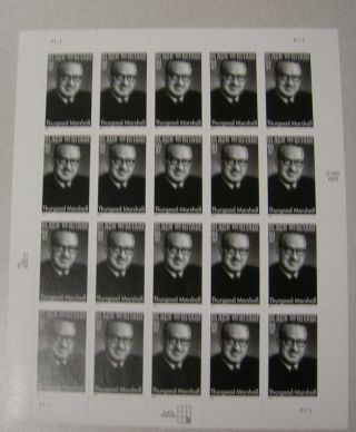Thurgood Marshall (scott 3746) Sheet Of 20 From The Black Heritage Series photo