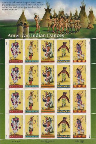 Tmm 1996 Amercan Indian Dances Sheet S 3072 - 76 M/nh/og photo