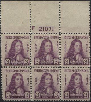 Scotts 724 3c William Penn Plate Block Of 6,  Og,  Lh,  F 21071 photo