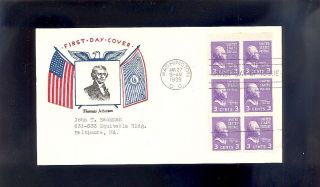 Thomas Jefferson 807a Booklet Pane Jan.  17,  1939 Washington,  Dc photo