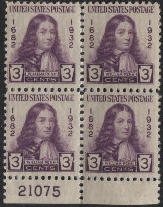 Scotts 724 3c William Penn Number Block Of 4,  Og, ,  21075 photo