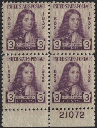 Scotts 724 3c William Penn Number Block Of 4,  Og, ,  21072 photo