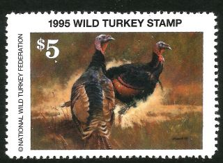 1995 Wild Turkey Stamp - Scarcest Nwtf Stamp - - Nowhere Else Offered - Just Look photo