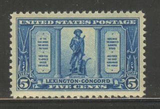 Us 619,  1925 5c Minute Man,  Lexington - Concord Battles Issue,  Nh photo