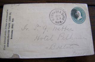 Nebraska City Nebraska To Hotel Pelham 19th Century Postal Stationary Cover 5 photo