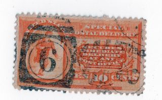 1893 Usa Scott E3 Sd2 Ten Cent Special Delivery Orange Usedf - Vf 4 Good Margins photo