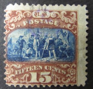15¢ - Brown And Blue - Type Ii 1,  200,  000 - Grill - Scott 119 - 1869 Classic photo