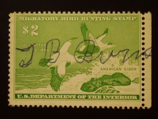 U S 1 Signed Hunting Permit Stamp S C Rw 24 photo