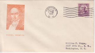 725 - 1c 3c Webster,  Hanover Nh 10/24/32 S Gorham (6 - 1/2x3 - 5/8