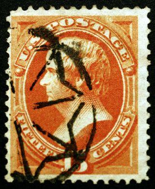 U.  S.  163 15c 1873 Reddish Orange Vf Geometric Cancel Cv $160 photo
