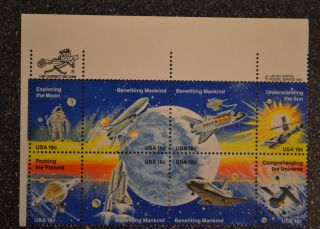 1981usa 1912 - 1919 18c Space Achievement Zip/copyright Block Of 8 Nh Vf photo