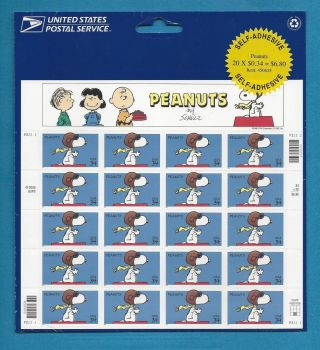 2001 34 - Cent Peanuts Comic Strip Issue,  Sheet Of 20,  Scott photo