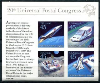 United States 1988 Space - Universal Postal Union Souvenir Sheet photo