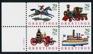 Usa 2718a Booklet Pane Christmas Toys,  Train,  Ship, photo