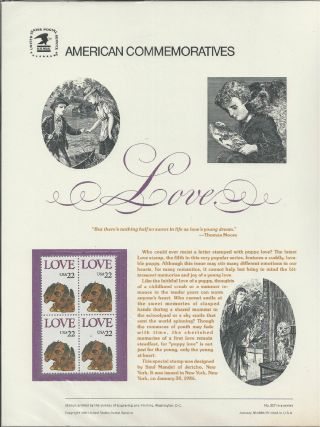 2202,  22 - Cent Love Stamp,  Puppy Love 1986 Commemorative Panel photo