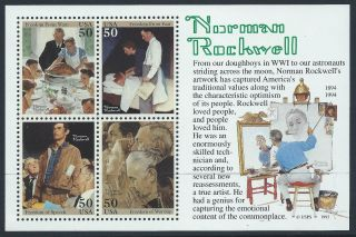 Each Stamp A Painting By Norman Rockwell Usa Souvenir Sheet Scotts 2840 Xf photo