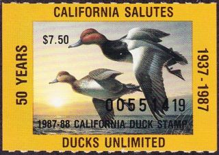 1987 California State Duck Stamp Never Hinged Vf photo