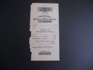 1885 - Maufactured Tobacco - Stub For Special Tax Stamp photo