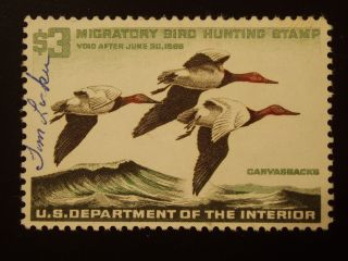 U S 1 Signed Never Hinged Full Gum Hunting Permit Stamp S C Rw 32 photo