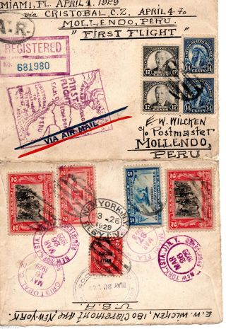 F.  A.  M.  F9 - 1 Miami Fl To Mollendo Peru 4 - 1 1929 Registered Franking Cachet photo