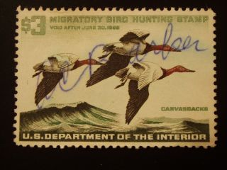 U S 1 Signed No Gum Hunting Permit Stamp S C Rw 32 photo