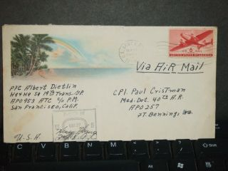 Apo 953 Hickam Field,  Hawaii 1943 Censored Wwii Cover Teich Cachet 19th Trans Gp photo