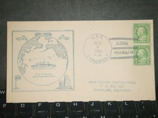 Uss Chaumont Ap - 5 Naval Cover 1934 Cachet Hawaii Later Uss Samaritan Ah - 10 photo