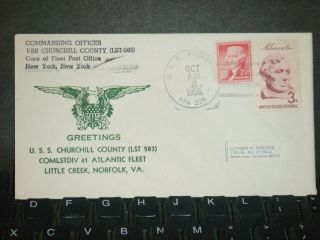 Uss Churchill County Lst - 583 Naval Cover 1966 Little Creek Cachet Uss Rockbridge photo