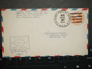 Apo 956 Fort Ruger,  Hawaii 1944 Censored Wwii Cover 773rd Amph Tr Bn photo