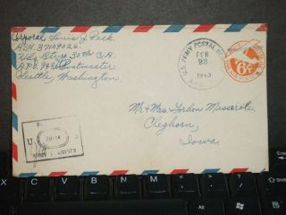 Apo 948 Fort Glenn,  Alaska 1943 Censored Wwii Army Cover 30th Ca photo