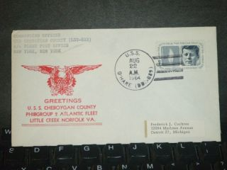 Uss Cheboygan County Lst - 533 Naval Cover 1964 Norfolk,  Va Cachet O ' Hare Dd - 889 photo