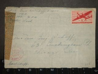 Apo 942 Anchorage,  Alaska Censored Wwii Army Cover 54th Tcs photo