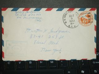 Apo 954 Fort Kamehameha,  Hawaii 1943 Censored Wwii Cover 15 Ca photo